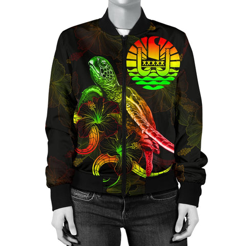 Image of Tahiti Polynesian Women's Bomber Jacket - Turtle With Blooming Hibiscus Reggae