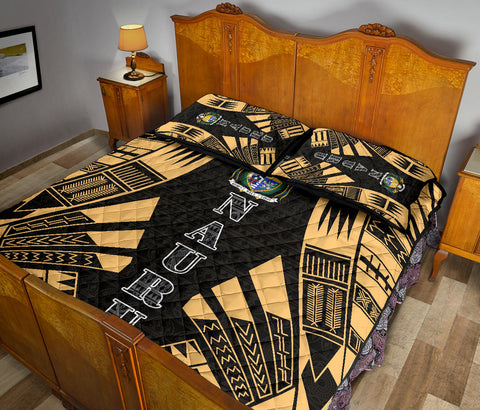 Nauru Polynesian Quilt Bed Set - Yellow Tattoo Style - BN0112