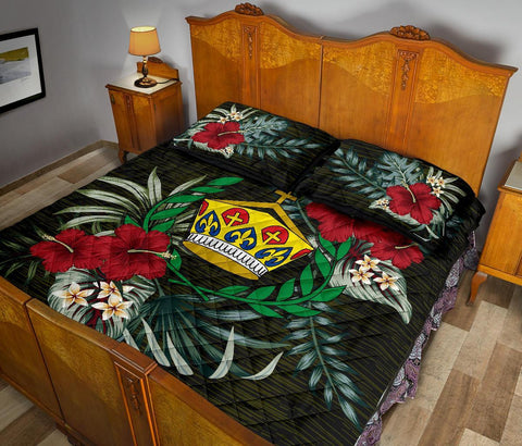 Image of Tonga Polynesian Quilt Bed Set - Special Hibiscus A7