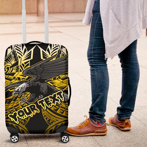 Samoa Polynesian Custom Personalised Luggage Covers - Eagle Tribal Pattern Yellow - BN12