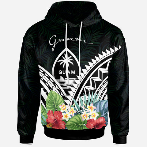 Guam Hoodie -Guam Coat of Arms & Polynesian Tropical Flowers White - BN22