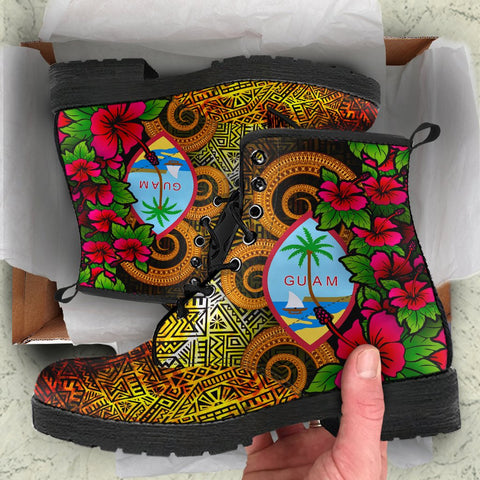Image of Guam Polynesian Leather Boots - Hibiscus Vintage