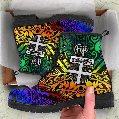 Fiji Leather Boots - Rainbow Polynesian Pattern