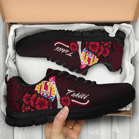 Tahiti Polynesian Sneakers - Coat Of Arm With Hibiscus - BN12