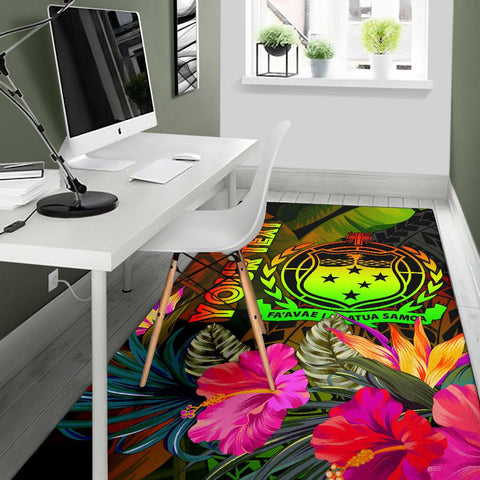 Samoa Polynesian Personalised Area Rug -  Hibiscus and Banana Leaves