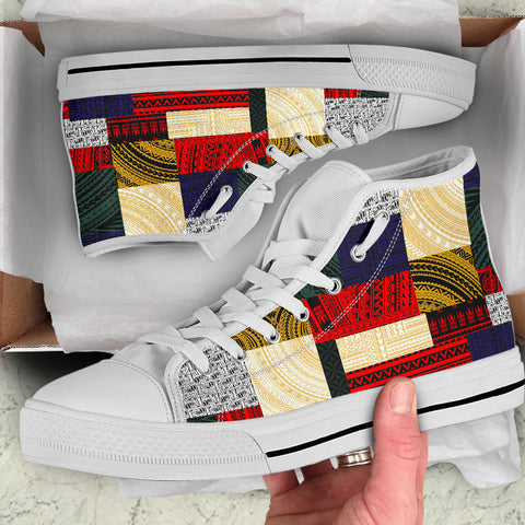 Image of Polynesian High Top Shoe - Design Retro Patchwork - BN12