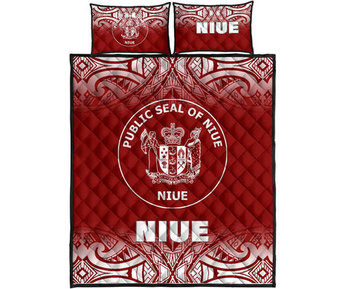 Image of Niue Polynesian Quilt Bed Set - Fog Red Style