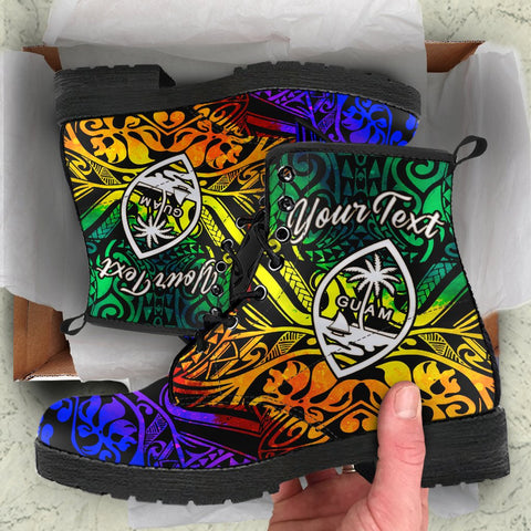 Guam Custom Personalised Leather Boots - Rainbow Polynesian Pattern