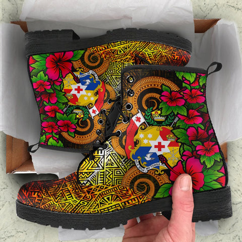 Image of Tonga Polynesian Leather Boots - Hibiscus Vintage