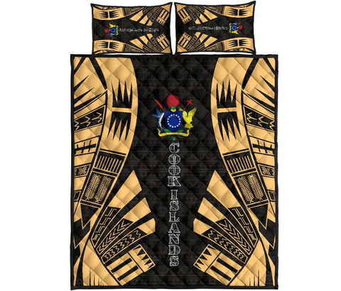 Cook Islands Polynesian Quilt Bed Set - Yellow Tattoo Style