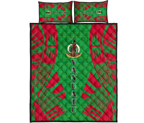 Vanuatu Quilt Bed Set - Green Tattoo Style
