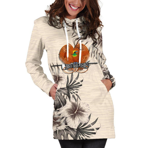 Papua New Guinea Hoodie Dress - The Beige Hibiscus A7