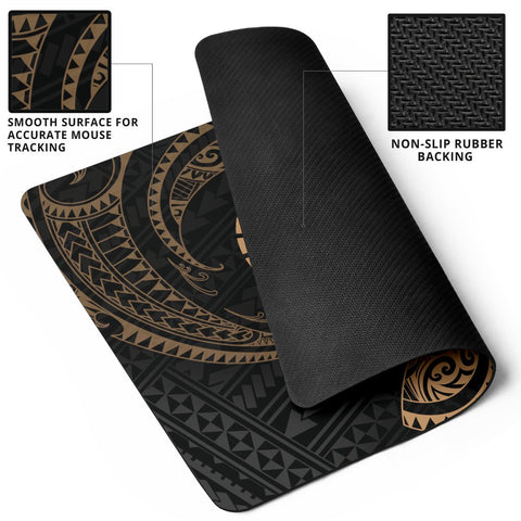 Image of Tahiti Polynesian Mouse Pad - Gold Tribal Wave - BN12