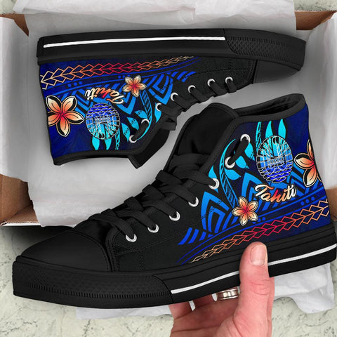 Tahiti High Top Shoes Blue - Vintage Tribal Mountain - BN11