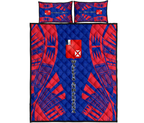 Wallis and Futuna Quilt Bed Set - Blue Tattoo Style