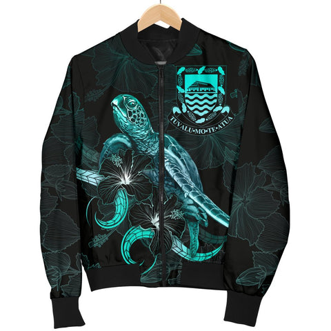 Tuvalu Polynesian Men's Bomber Jacket - Turtle With Blooming Hibiscus Turquoise