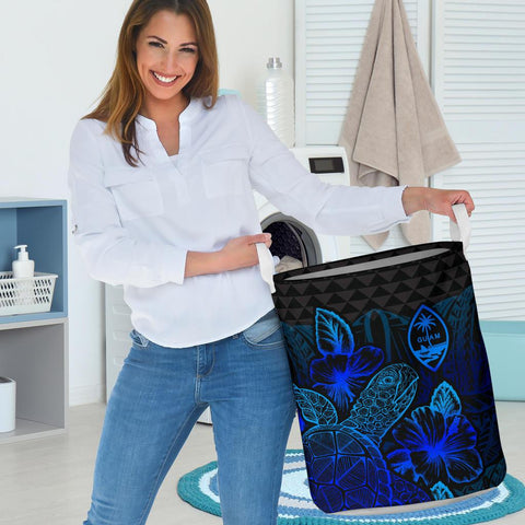 Guam Laundry Basket  -  Polynesian Turtle Hibiscus Blue  - BN39