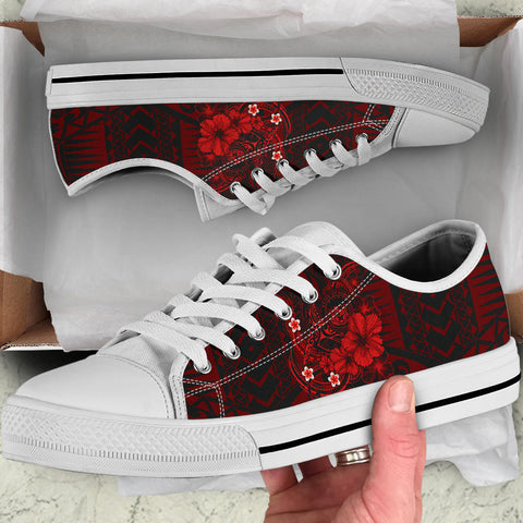 Image of Polynesian Hawaii Low Top Shoe - Humpback Whale with Hibiscus (Red)