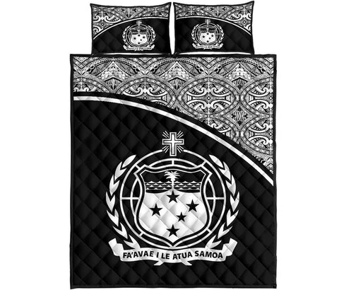 Samoa Quilt Bed Set - Black Curve Version