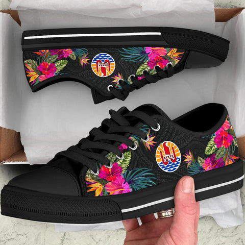 French Polynesia Low Top Shoe - Hibiscus Polynesian Pattern - BN39