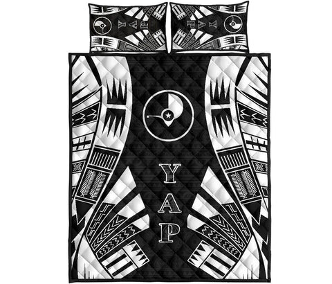 Yap Quilt Bed Set - Black Tattoo Style