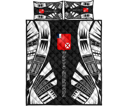 Wallis and Futuna Quilt Bed Set - Black Tattoo Style