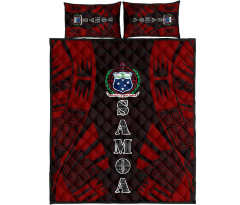 Samoa Quilt Bed Set - Black Red Tattoo Style