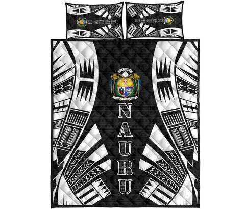 Naru Polynesian Quilt Bed Set - Black Tattoo Style