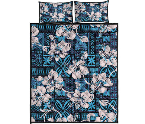 Fiji Polynesian Quilt Bed Set Tapa Hibiscus Blue A7