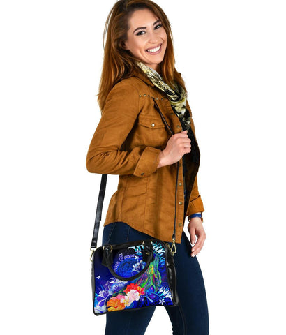 Image of American Samoa Polynesian Shoulder Handbag - Humpback Whale with Tropical Flowers (Blue)