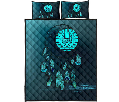 Tahiti Polynesian Quilt Bed Set Dreamcatcher Blue A02