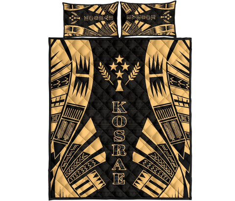Kosrae Quilt Bed Set - Yellow Tattoo Style