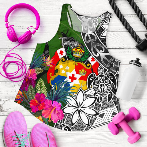 Image of Tonga Women Racerback Tank - Turtle Plumeria Banana Leaf