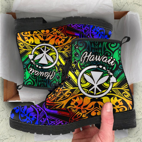 Hawaii Leather Boots - Rainbow Polynesian Pattern