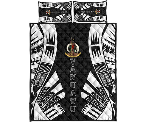 Vanuatu Quilt Bed Set - Black Tattoo Style