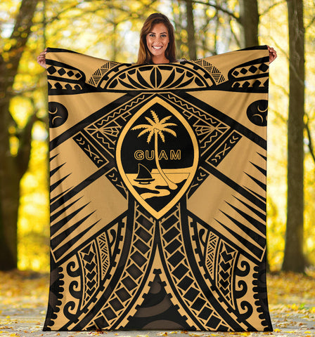 Guam Polynesian Premium Blanket - Guam Gold Seal with Polynesian Tattoo - BN18