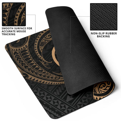 Hawaii Polynesian Mouse Pad - Gold Tribal Wave - BN12