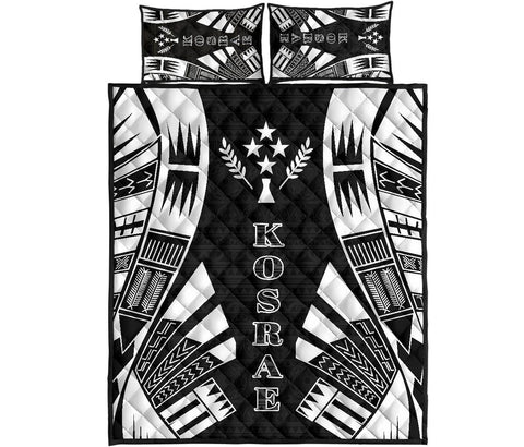 Kosrae Quilt Bed Set - Black Tattoo Style