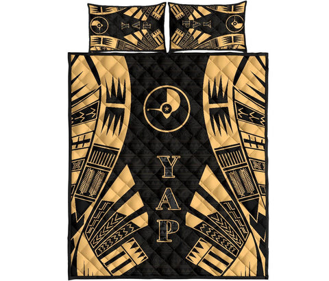 Yap Quilt Bed Set - Yellow Tattoo Style