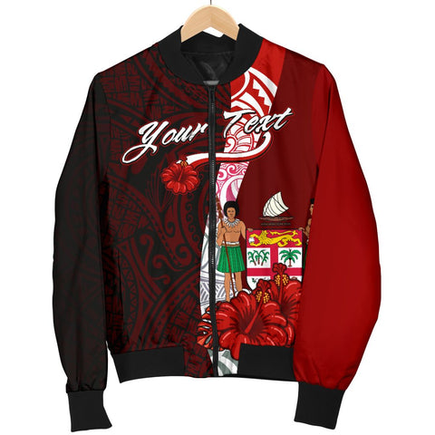 Image of Fiji Polynesian Custom Personalised Men's Bomber Jacket - Coat Of Arm With Hibiscus - BN12