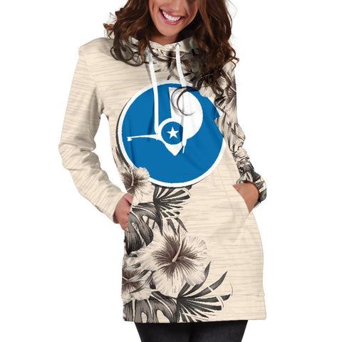 Yap Hoodie Dress - The Beige Hibiscus A7