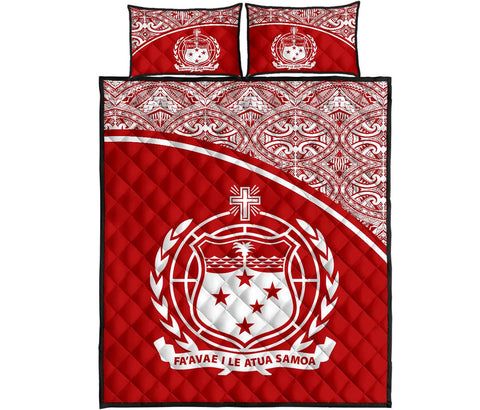 Image of Samoa Quilt Bed Set - Red Curve Version
