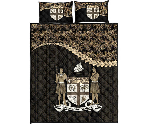 Image of Fiji Polynesian Quilt Bed Set Golden Coconut