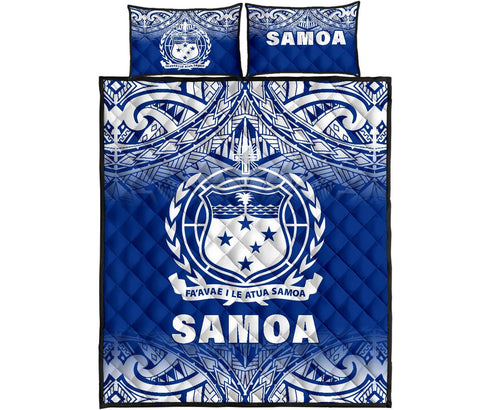 Samoa Quilt Bed Set - Fog Blue Version
