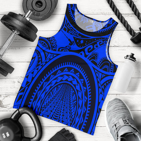 Image of Polynesian Men's Tank Top, Maui Tattoo Polynesian Patterns (Blue) - BN17