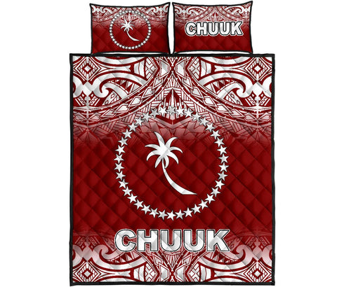 Chuuk Quilt Bed Set - Red Fog Style