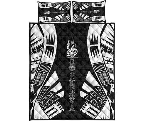 New Caledonia Polynesian Quilt Bed Set - Black Tattoo Style