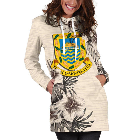Tuvalu Hoodie Dress - The Beige Hibiscus A7