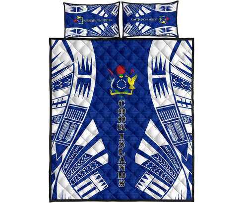 Cook Islands Polynesian Quilt Bed Set - Blue Tattoo Style