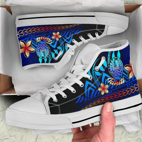 Image of Tahiti High Top Shoes Blue - Vintage Tribal Mountain - BN11
